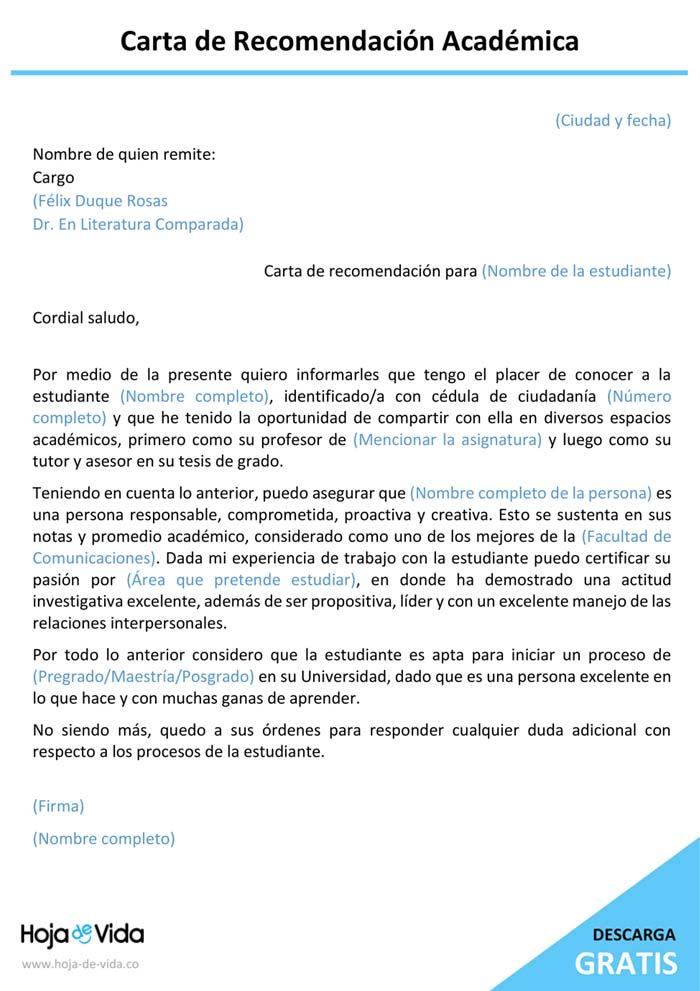 carta de recomendación academica