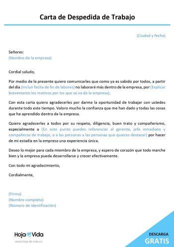 carta de despedida de trabajo