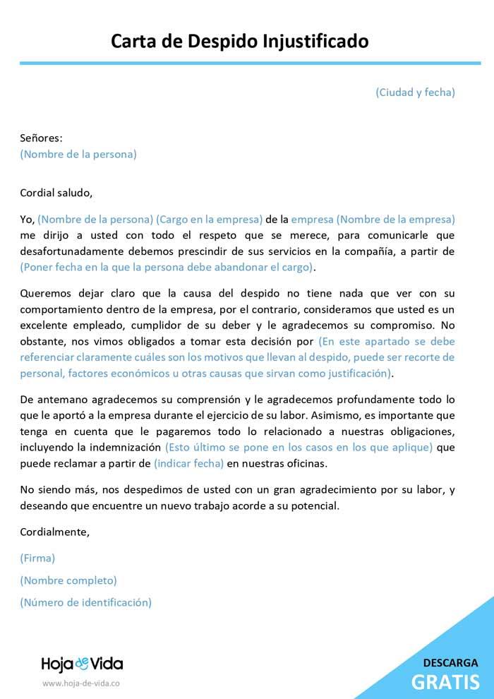 carta de despido injustificado